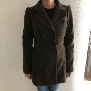 Guess Brown  Double-Breasted  Blend Peacoat Size S